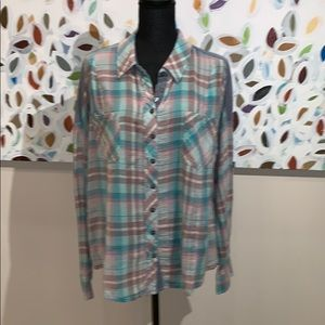 Free People plaid shirt w/denim details
